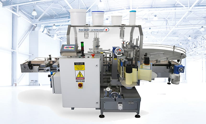 Universal Wrap Around Bucket Labeller System Shemesh Automation